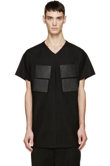 Julius - Black Leather Patch T-Shirt