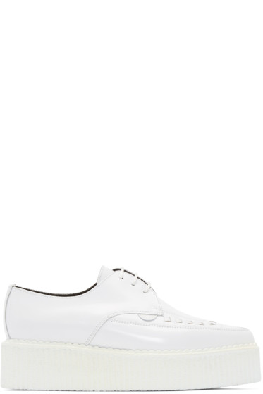 Underground - White Patent Leather Double Barfly Creepers