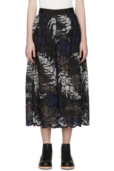 Sacai - Black & Navy Lace Leaf Culottes