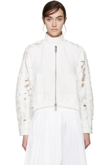 Sacai - White Lily Lace Zip-Up Sweater