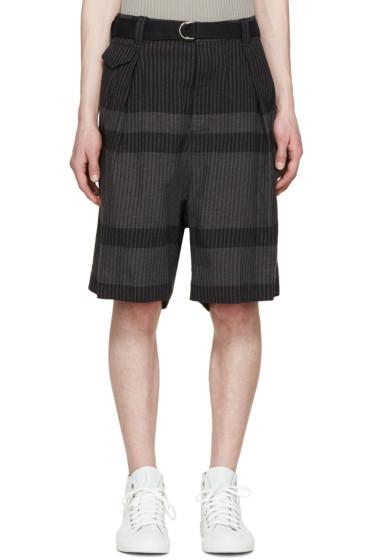 Sacai - Navy & Grey Striped Shorts