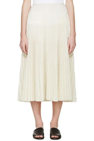 Cédric Charlier - Cream Pleated Skirt