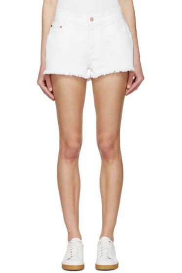 Stella McCartney - White Denim Fringed Star Shorts