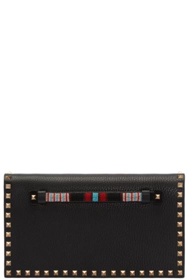 Valentino - Black Leather Beaded Rockstud Clutch