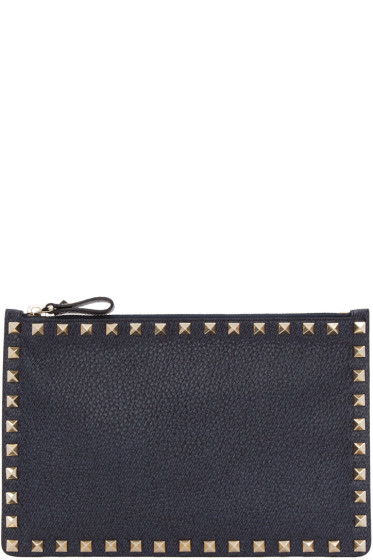 Valentino - Navy Leather Rockstud Pouch