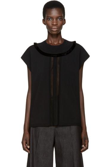 Valentino - Black Sleeveless Fringed Sweater