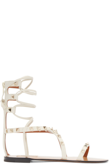 Valentino - Ivory Gladiator Rockstud Sandals