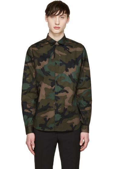 Valentino - Green & Black Camouflage Shirt