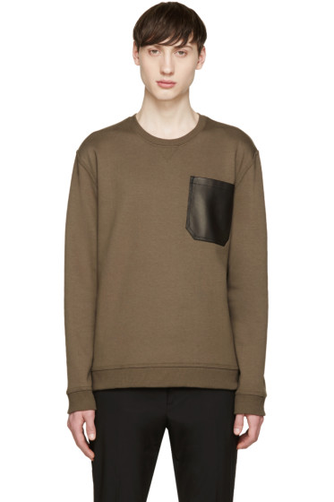 Valentino - Green Leather Pocket Pullover