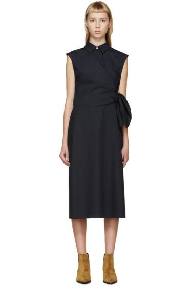 J.W.Anderson - Navy Poplin Side Knot Dress