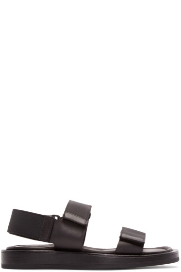 Calvin Klein Collection - Black Leather Velcro Sandals