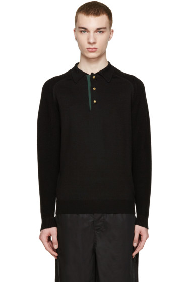 Kolor - Black Knit Polo Sweater