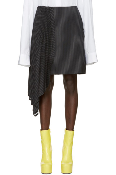 Facetasm - Black Asymmetric Pinstripe Miniskirt