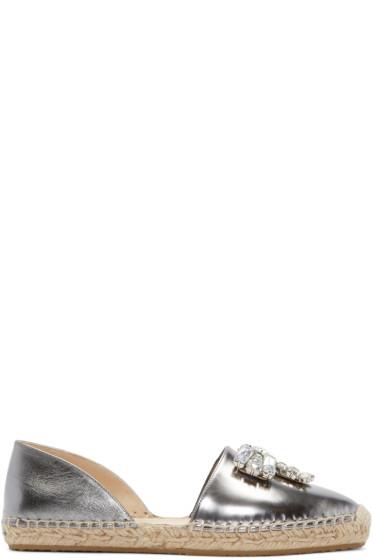 Jimmy Choo - Silver Leather Bejeweled Damask Espadrilles