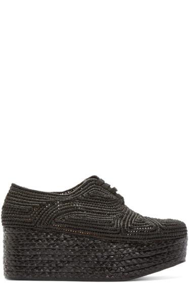 Robert Clergerie - Black Platform Raffia Pinto Shoes
