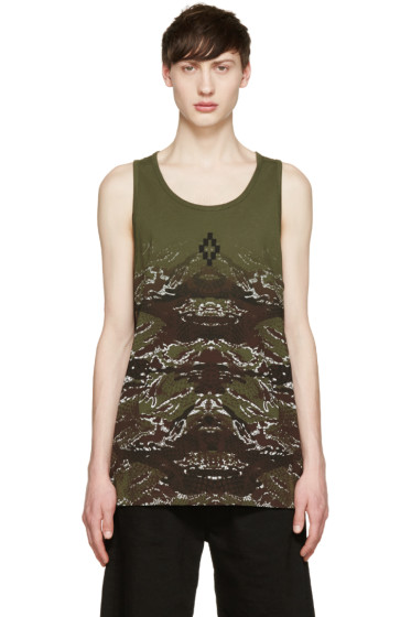 Marcelo Burlon County of Milan - Green Camouflage Snake Banes Tank Top
