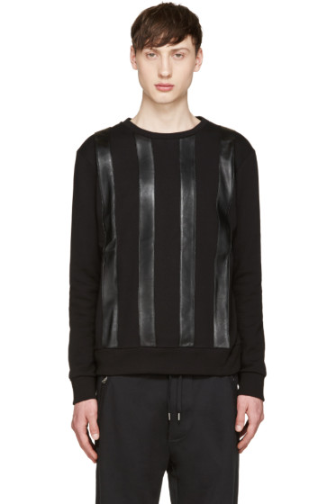 Giuliano Fujiwara - Black Leather Striped Pullover