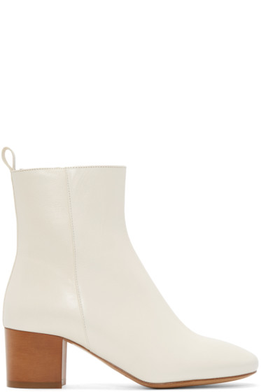 Isabel Marant - Cream Leather Deyis Ankle Boots