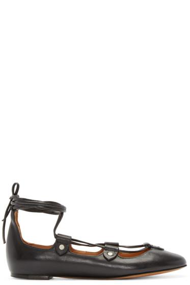 Isabel Marant - Black Lace-Up Lali Ballerina Flats