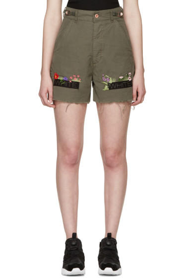 Off-White - Green Embroidered Cargo Shorts