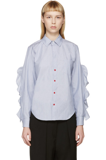 Toga - Blue & White Flounce Sleeve Shirt