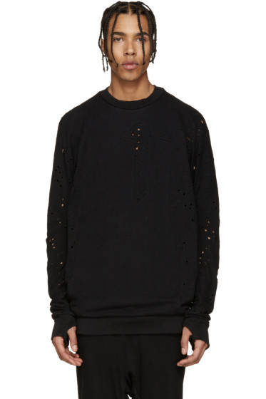 11 by Boris Bidjan Saberi - Black Blocked Eyelet Sweatshirt