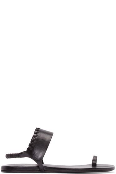 Carritz - Black Leather Bracelet Sandals