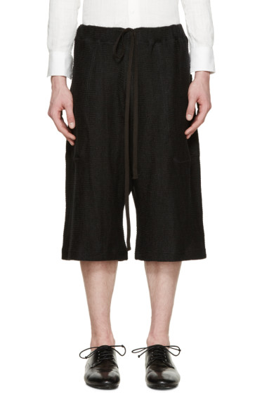 Nude:mm - Black Knit Sarouel Shorts