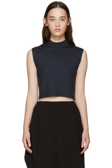 Nomia - Navy Ribbed Sleeveless T-Shirt