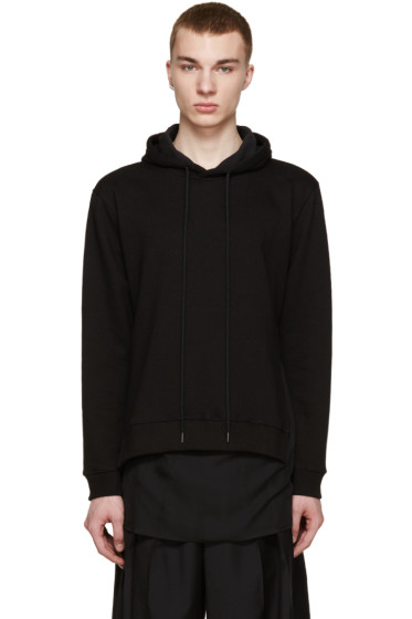 D by D - SSENSE Exclusive Black Layered Drop-Tail Hoodie