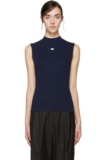 SJYP - Navy Sleeveless Ribbed T-Shirt