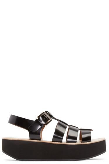Flamingos - Black Patent Leather Citrus Sandals