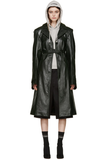 Vetements - Green Leather Oversized Trench Coat