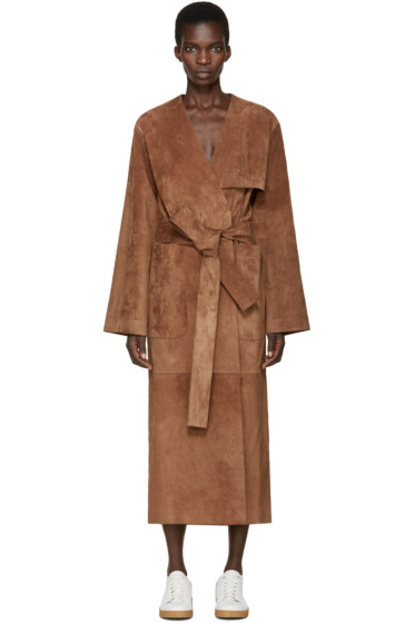 Loewe - Brown Suede Belted Coat