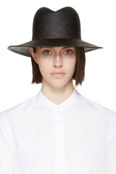 Clyde - Black Straw Dip Hat