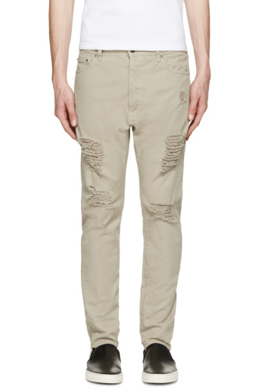 Palm Angels - Beige Distressed Jeans