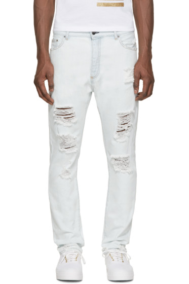 Palm Angels - Blue Distressed Slim Jeans