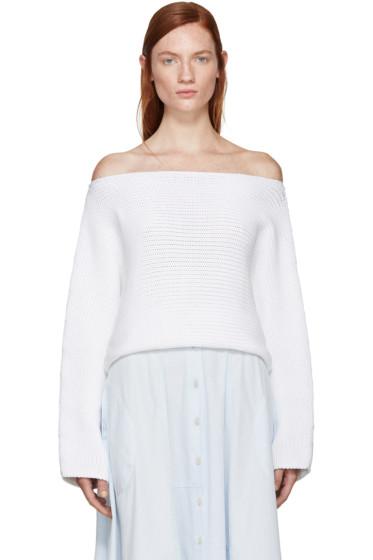 Rosetta Getty - White Knit Boatneck Sweater