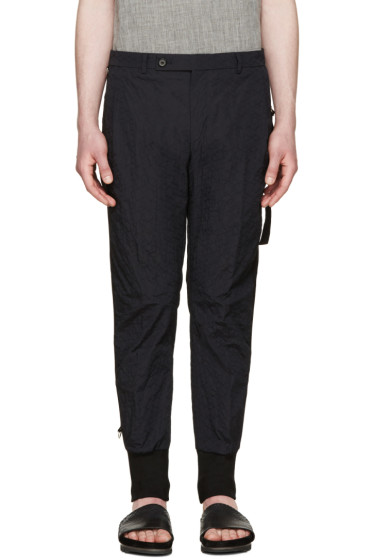 Wooyoungmi - Navy Nylon Embroidered Trousers