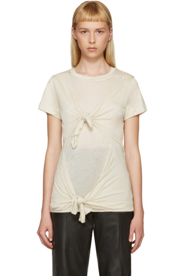 Marques Almeida - Beige Slashed & Knotted T-Shirt