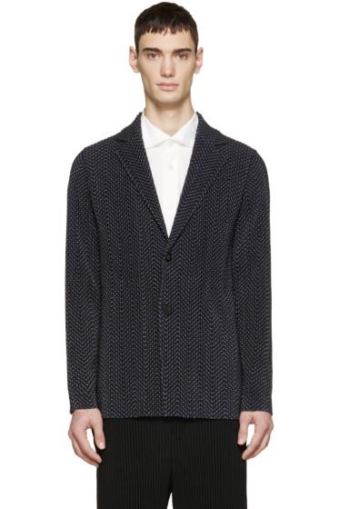 Homme Plissé Issey Miyake - Navy Pleated & Printed Blazer