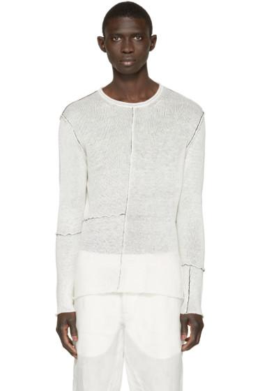 Isabel Benenato - Off-White Contrast Seam Sweater