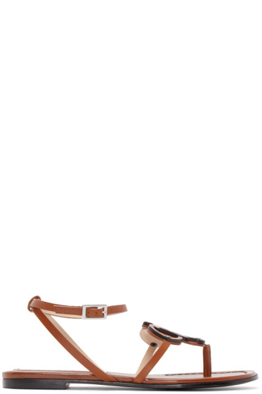 Emilio Pucci - Brown Leather Crest Sandals