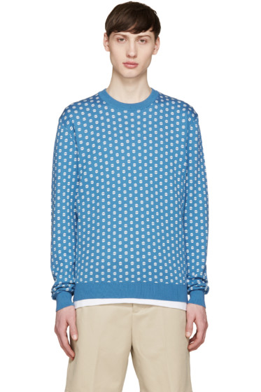 Éditions M.R  - Blue Tennis Ball Jacquard Sweater
