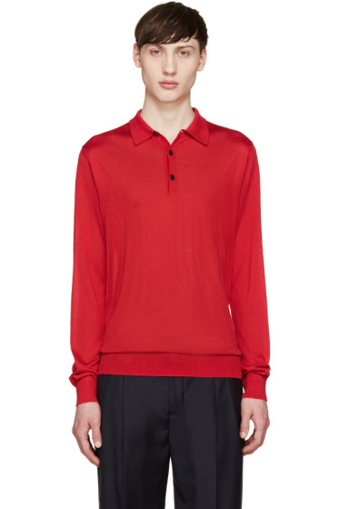 Éditions M.R  - Red Knit Silk Polo