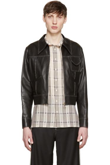 Wales Bonner - Brown Leather Baldwin Jacket