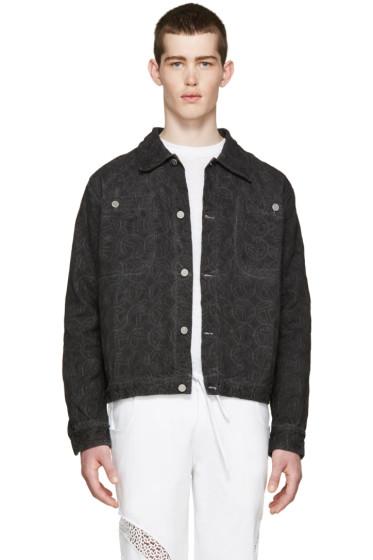 Telfar - Black Denim Embroidered Jacket