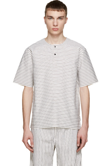 Phoebe English - White & Black Striped Henley