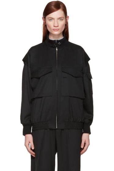 Hyke - Black Wool Bomber Jacket