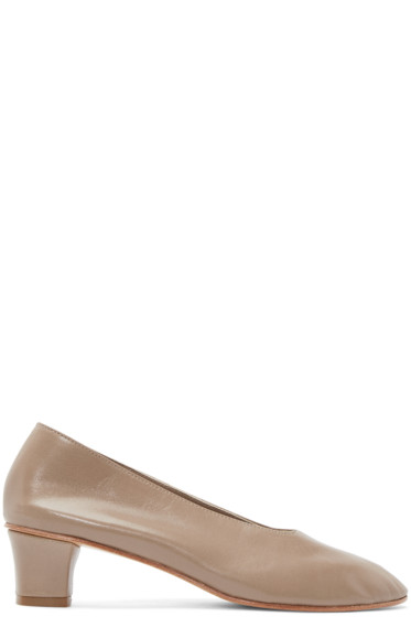 Martiniano - Taupe Leather High Glove Heels